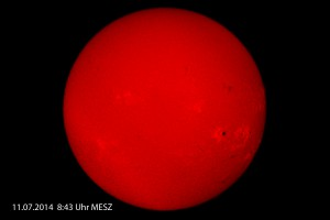 Sonne in H-alpha vom 11.07.2014